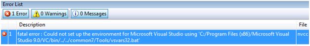Ошибка компиляции проекта CUDA Runtime в Microsoft Visual Studio 2008