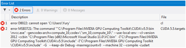 Ошибки компиляции проекта CUDA Runtime в Microsoft Visual Studio 2012. Error D8022: cannot open 'C:\Users\Yury'