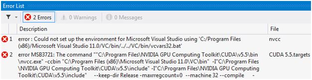 Ошибки компиляции проекта CUDA Runtime в Microsoft Visual Studio 2012