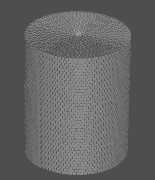 Расчётная сетка, которая состоит из расположенных на листе и скрученных в цилиндр вокселов