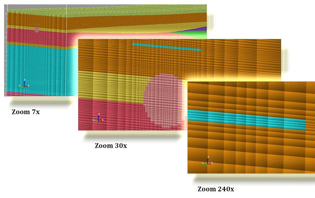 Модель километрового участка трубопровода с качественной дискретизацией элементов расчетной области